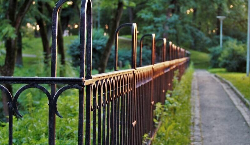 Metal fence around garden