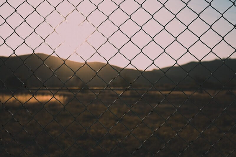 Chain Link Fence right before sunset