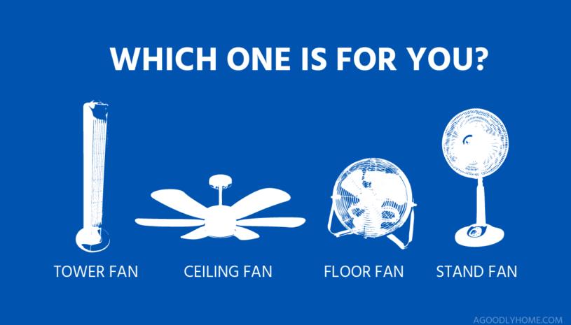 tower fans vs stand fans vs ceiling fans vs floor fans