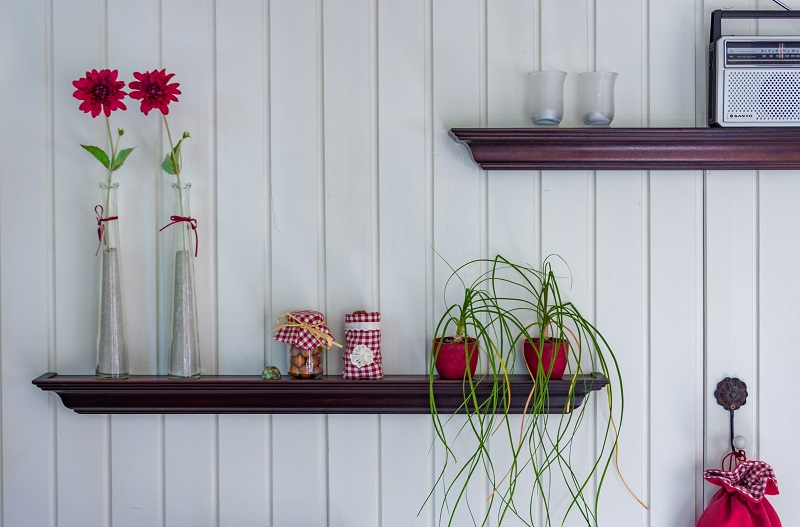 red colored wall shelf
