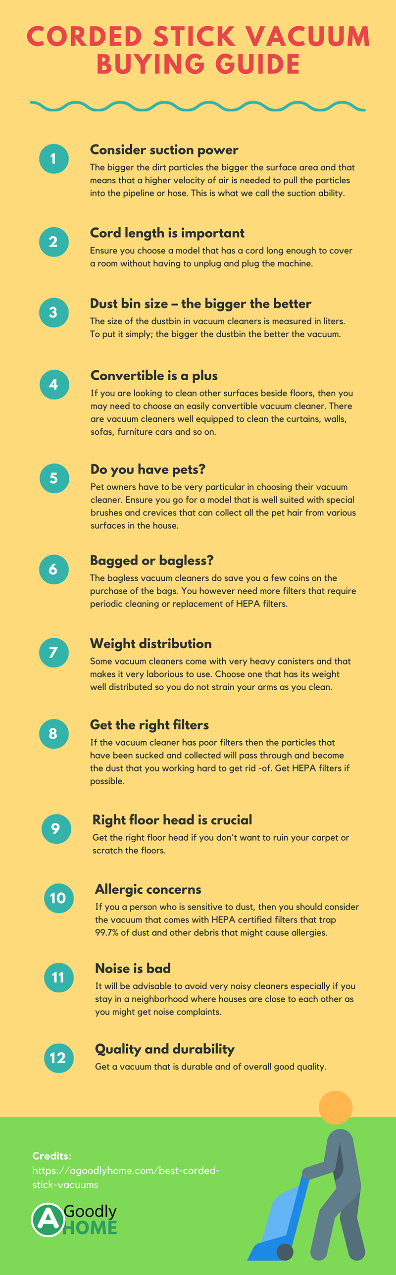 corded stick vacuum buying guide - infographic