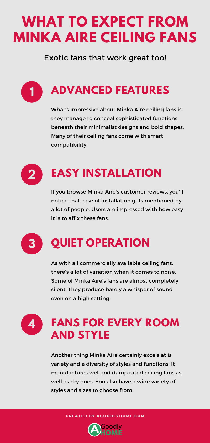 what to expect from Minka aire ceiling fans